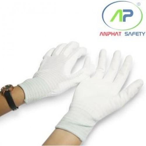 Găng tay chống tĩnh điện phủ lòng màu trắng  Size M
