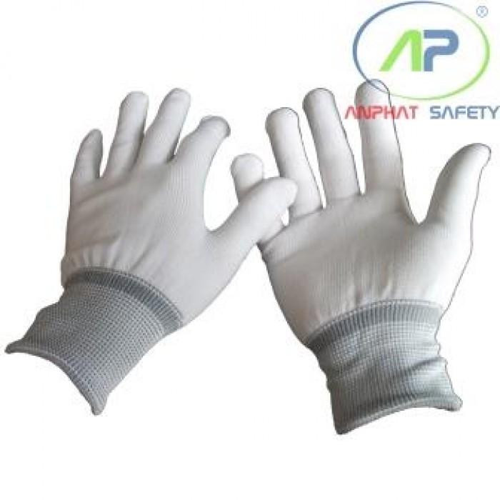 Găng tay thun không phủ PU (Màu trắng) Size L (không viền)