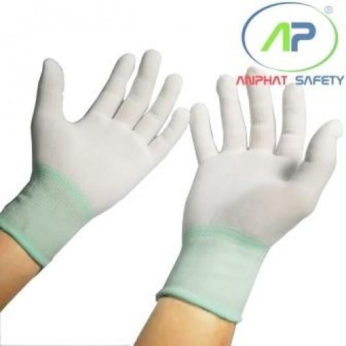Găng tay thun không phủ PU (Màu trắng) Size M (không viền)