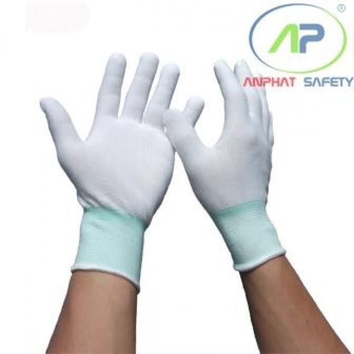 Găng tay thun không phủ PU (Màu trắng) Size M (Có viền)