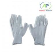 Găng tay thun phủ PU lòng màu xám cắt 3 ngón, L (Không viền)
