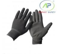 Găng tay thun phủ PU lòng màu xám, L (Không viền)