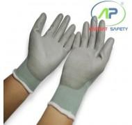 Găng tay thun phủ PU lòng màu xám, L (Có viền)