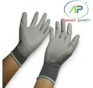 Găng tay thun phủ PU lòng màu xám M (Có viền)