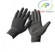 Găng tay thun phủ PU lòng màu xám, S (Có viền)