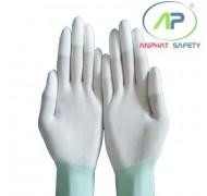 Găng tay thun phủ PU ngón tay (màu trắng không viền) (M)