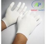 Găng tay thun phủ PU ngón tay (màu trắng không viền) (S)