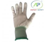 Găng tay thun phủ PU ngón (màu trắng chạy viền) (M)