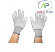Găng tay thun phủ PU ngón (màu trắng chạy viền) (L)