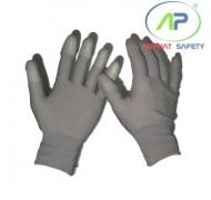 Găng tay thun phủ PU ngón tay (màu xám) không viền size L