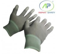 Găng tay thun phủ PU ngón tay (màu xám) không viền size M