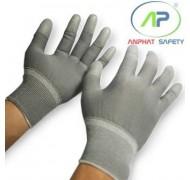 Găng tay thun phủ PU ngón tay (màu xám) không viền size S