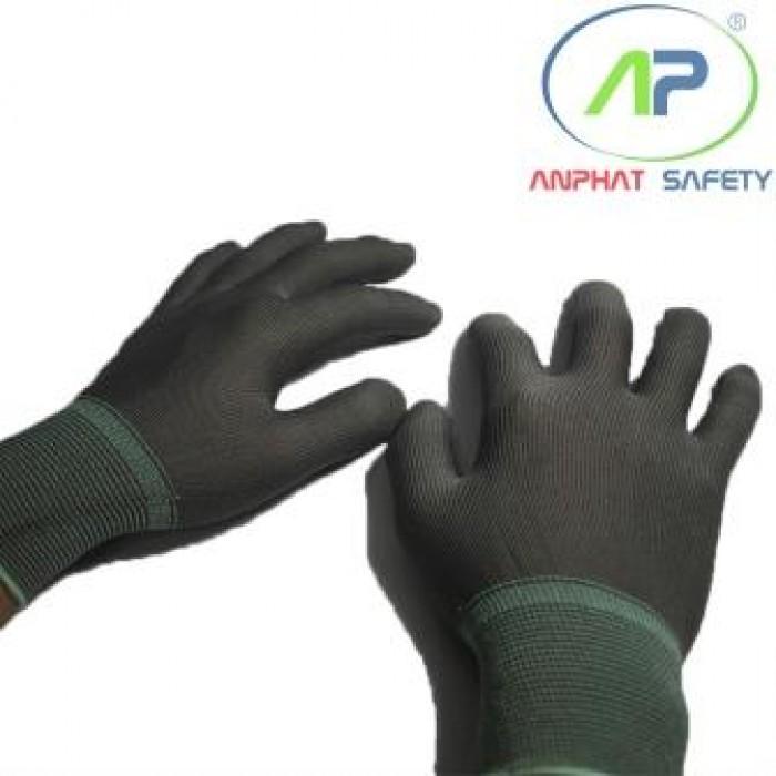 Găng tay thun không phủ PU (màu xám có viền) Size M