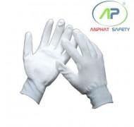 Găng tay thun phủ PU lòng Trắng L (Không viền)