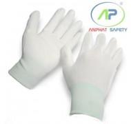 Găng tay thun phủ PU lòng Trắng M (Có viền)
