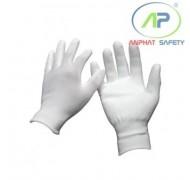 Găng tay thun phủ PU lòng Trắng S (Không viền)