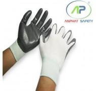 Găng tay thun phủ PU lòng Trắng S (Có viền)