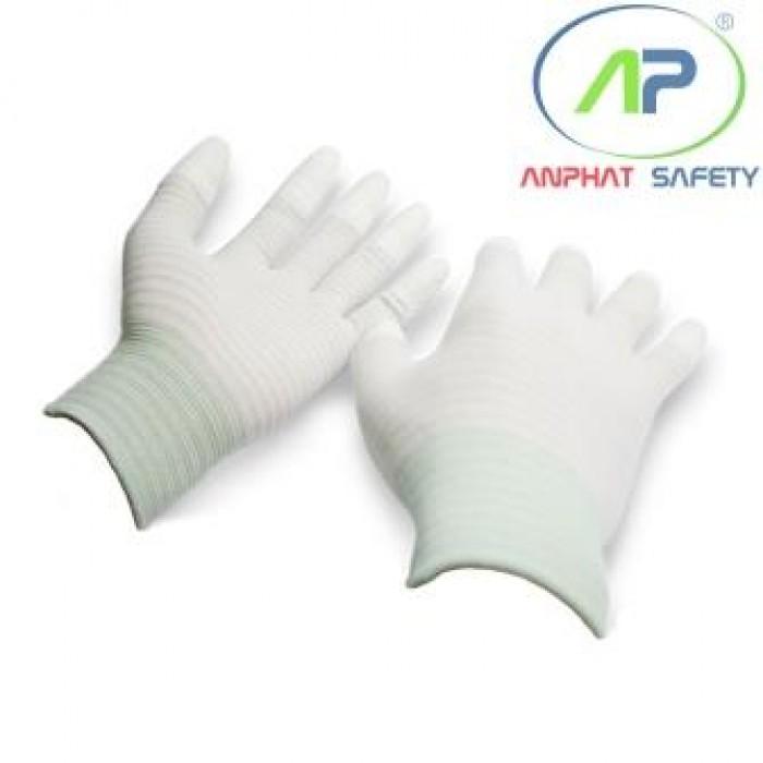 Găng chống tĩnh điện phủ PU đầu ngón (Màu trắng) M