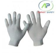 Găng chống tĩnh điện phủ PU đầu ngón (Màu trắng) S