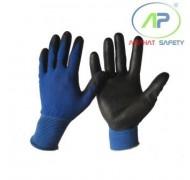 Găng tay xanh phủ PU lòng bàn tay (không viền) màu đen Size L