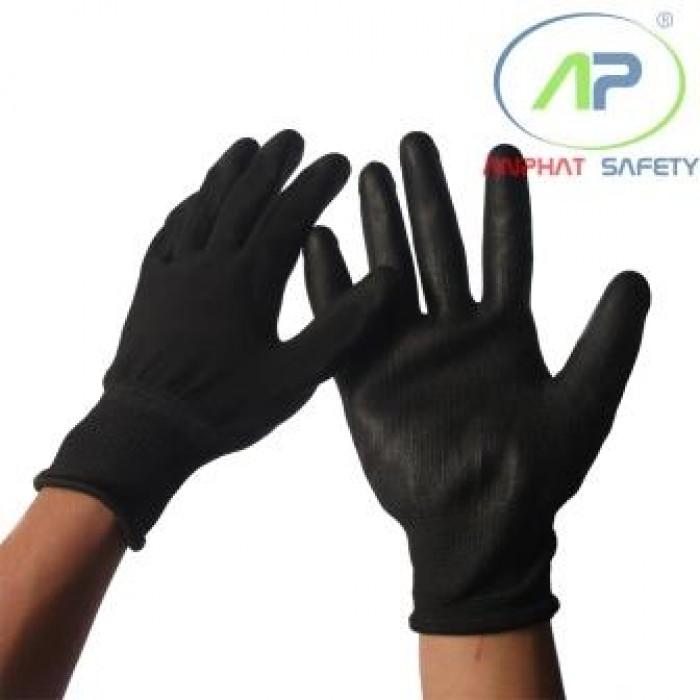 Găng tay thun đen phủ PU lòng Đen size L ( Không viền)