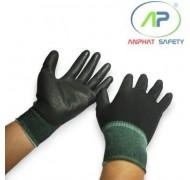 Găng tay thun đen phủ PU lòng Đen size M ( Có viền)